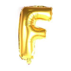 Balão Laminado Letra ''F'' Dourado C/ 40 Cm