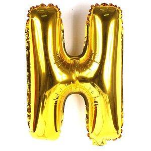 Balão Laminado Letra ''H'' Dourado C/ 40 Cm