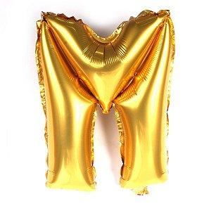 Balão Laminado Letra ''M'' Dourado C/ 40 Cm