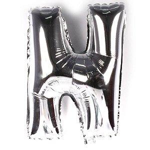 Balão Laminado Letra ''N'' Prata C/ 40 Cm