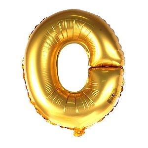 Balão Laminado Letra ''O'' Dourado C/ 40 Cm