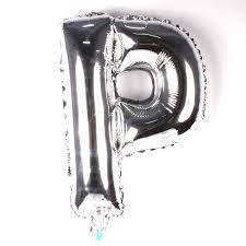 Balão Laminado Letra ''P'' Prata C/ 40 Cm
