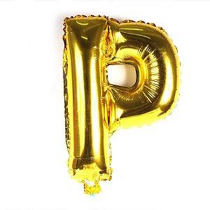 Balão Laminado Letra ''P'' Dourado C/ 40 Cm