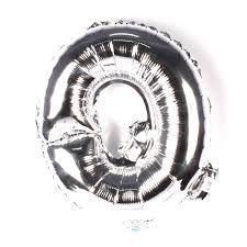 Balão Laminado Letra ''Q'' Prata C/ 40 Cm