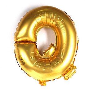 Balão Laminado Letra ''Q'' Dourado C/ 40 Cm