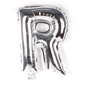 Balão Laminado Letra ''R'' Prata C/ 40 Cm