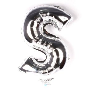 Balão Laminado Letra ''S'' Prata C/ 40 Cm