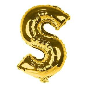 Balão Laminado Letra ''S'' Dourado C/ 40 Cm
