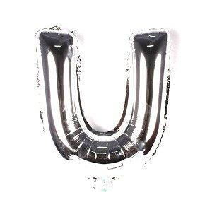 Balão Laminado Letra ''U'' Prata C/ 40 Cm