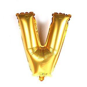 Balão Laminado Letra ''V'' Dourado C/ 40 Cm
