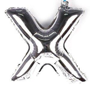 Balão Laminado Letra ''X'' Prata C/ 40 Cm