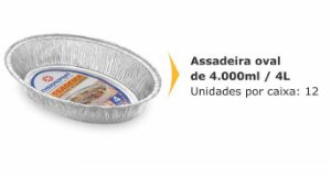 Assadeira Oval Thermoprat Cx C/ 12X4 lts