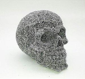Crânio com Glitter Silver Festas Un.