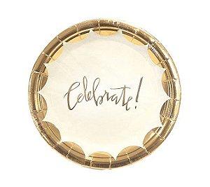 Prato Papel Celebrate Dourado C/ 10 Un.