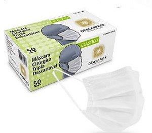 Mascara Descartável Tripla C/Clips Nasal Branca Descarpack Cx. C/ 50 Un.