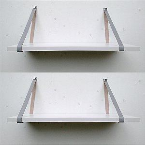 kit 2 - Prateleiras mdf branco 90x20 - couro cinza claro