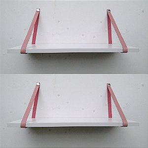 kit 2 - Prateleiras mdf branco 90x20 - couro rosa chá