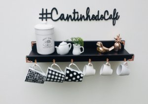 Cantinho do café preto rose gold + lettering