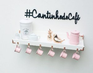 Cantinho do café  branco rose gold + letterig