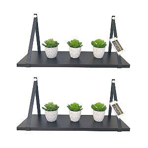 Kit 2 prateleiras pretas com alça de couro Preto