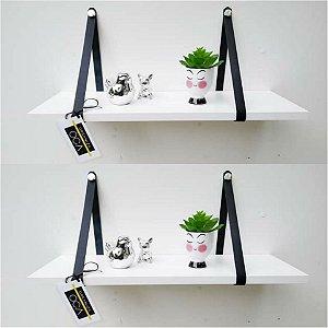 kit 2 prateleiras branca alça couro preto  ( 60 cm x 10 cm )