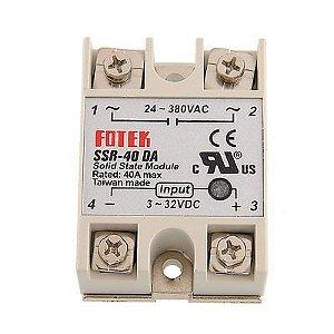 MODULO RELE ESTADO SOLIDO SAIDA 24~380VAC 40A - INP 3~32VDC *SSR-40 FOTEK