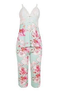 Pijama Pescador de Algodão Estampado com Renda Mari M