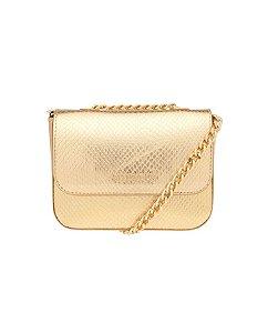 Bolsa Ellus Dourada com Alça Corrente