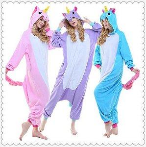 Pijama Kigurumi de Unicórnio - Três Cores