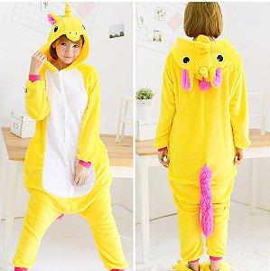 Pijama Kigurumi de Unicórnio Amarelo