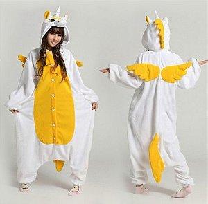 Pijama Kigurumi de Unicórnio Alado Amarelo