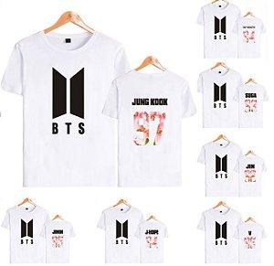 81a0149ad9b0d Camiseta Kpop BTS Branca - Nova Logo - Várias Combinações de Cores