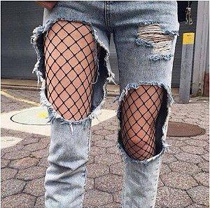 Meia-calça Arrastão - Três Espaçamentos de Pontos