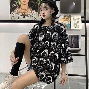 Camiseta Longline FUNNY FACES - Duas Cores