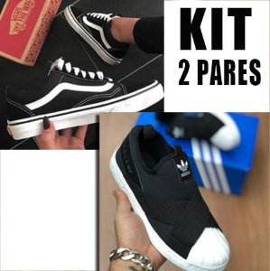 KIT 2 Pares VANS OLD SKOOL & ADIDAS SLIP-ON
