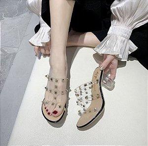 Sandália Salto Quadrado Transparente SPIKED - Duas Cores