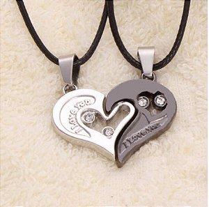 Colar de Coração I LOVE YOU (Par) - Várias Cores