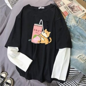 Camiseta Manga Longa Dupla GATINHOS E DRAGÕES - Duas Cores
