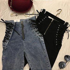 Calça Jeans CINTURA LAÇADA - Duas Cores