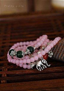 Japamala Pulseira em Pedra Quartzo Rosa de 6mm detalhe Elefante e Pedras
