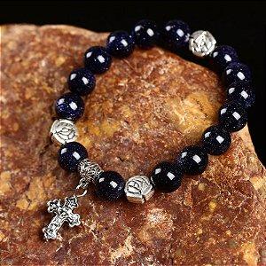 Japamala Pulseira 10mm em Pedra Estrela Azul e Detalhe em Cruz