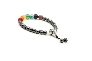 Pulseira Japamala Rainbow Healing All Chakras Hematita