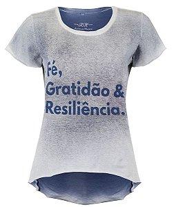 Camiseta Fé, Gratidão & Resiliência - Feminina - Azul