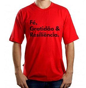 Camiseta Masculina Fe, Gratidão e Resiliência - Vermelha