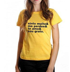 Camiseta Feminina Ho'Oponopono - Amarela