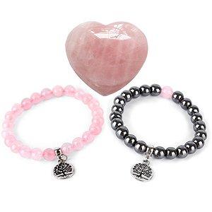 Kit Especial Dia das Mães - Pedra Coração Cristal Quartzo Rosa, Pulseira Hematita com Quartzo Rosa e Quartzo Rosa