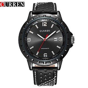 Relogio Curren 8120 homens ' quartzo com pulseira de couro (preto)