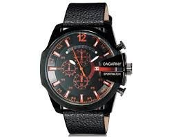 Relogio CAGARNY Men's Fashionable Large Dial Plate Sport Watch with Calendar Display (Red+Black)