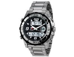 Relógio T5 Men's 30m Waterproof Dual Movement Digital & Analog Wrist Watch with Stainless Steel