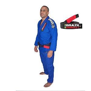 Kimono Jiu-JItsu Xtra-Lite Azul com Faixa Preta Brazil Combat